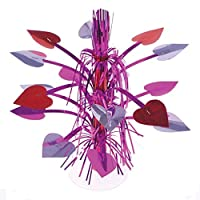 """One Large Red Silver And Pink Mylar Heart Theme Centerpiece Dangler - 14.5"""""""