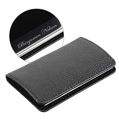 Personalized Business Card Holders for Men-Black Name Card Holder-ID Credit Card Holder Organizer-Customize with - Personalized Business Card Leather