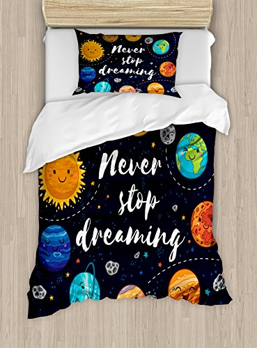 Quote Duvet Cover Set Twin Size by Ambesonne, Outer Space Planets and Star Cluster Solar System Moon and Comets Sun Cosmos Illustration, Decorative 2 Piece Bedding Set with 1 Pillow Sham, (Moon Cluster)