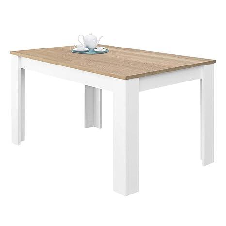 Habitdesign 0F4586A - Mesa de Comedor Extensible, Mesa salón o Cocina, Acabado en Color Blanco Artik y Roble Canadian, Modelo Kendra, Medidas: 140-190 ...