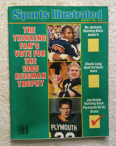 Bo Jackson (Auburn Tigers), Chuck Long (Iowa Hawkeyes) & Joe Dudek (Plymouth State Panthers) - Heisman Trophy Candidates - Sports Illustrated - December 2, 1985 - College Football - SI