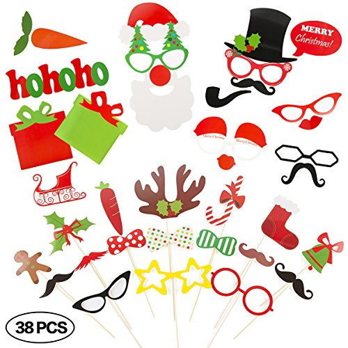 Christmas Photo Booth Props for Instant Camera 38 Pieces DIY Kit Party - To Mustache Wear A How