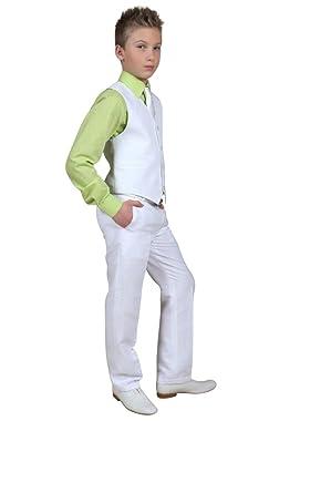 Costume lin pantalon gilet garçon pour cérémonie communion ou mariage -  Blanc - 16 ans  Amazon.fr  Vêtements et accessoires 3e5f6195eb6