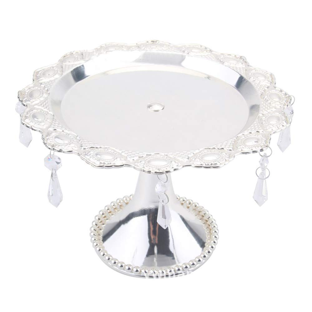 Wispun Metal Cake Stand Fruit Tray Dessert Tray with Crystal Beads and Dangles for Wedding Props Bake Party Supplies,10 Inches Round Decorative Bowl Plate Dish Serving Platter