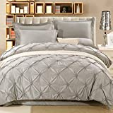 Pinch Pleated Duvet Cover with Zipper Closure, 3 Pieces Microfiber Pintuck Bedding Duvet Cover Luxury Hypoallergenic Comforter Cover(Queen, Grey)