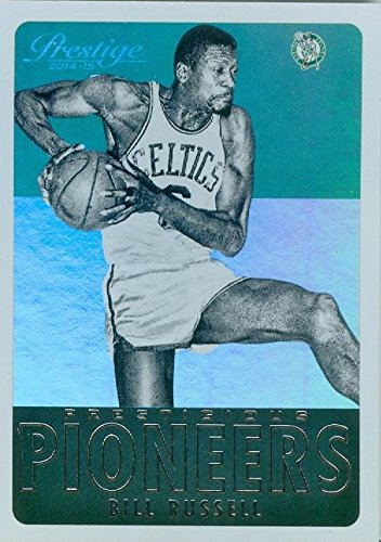 Bill Russell basketball card (Boston Celtics Hall of Fame) 2014 Prestige #5 Pioneers Edition Refractor (Card Refractors Basketball)