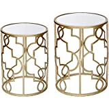 DecentHome Nesting Accent Metal Structure End Table set (Gold, Set of 2)