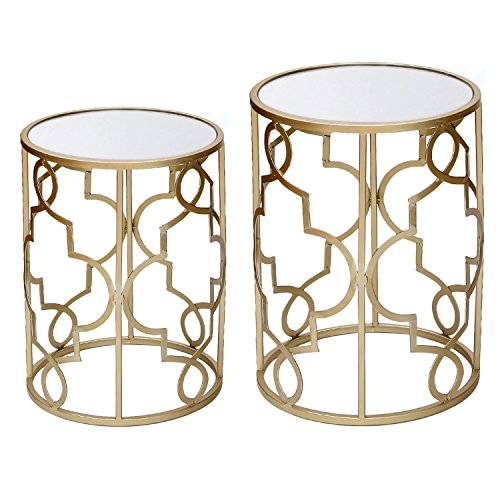 - DecentHome Nesting Accent Metal Structure End Table set (Gold, Set of 2)