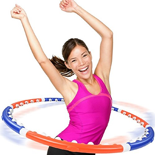 Weighted Hula Hoop Workout for Adults Exercise Weight Loss Fitness Travel 2lb Exerciser Bonus Belly Blaster Waist Trimmer