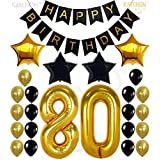80th Birthday Decorations Party Supplies - Large Number 80 | Happy Birthday Banner | Black and Gold Balloons | 80th Birthday Party Decorations Kit | Great for 80 Year Old Party Supplies