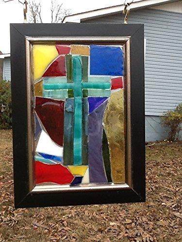 Stained Glass Cross Window Art Sun Catcher, Christian Art