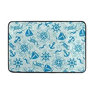 lorvies marina náuticas patrón Felpudo, forma de puerta de interior al aire libre alfombra de entrada con base antideslizante., (23.6por 15.7-inch)