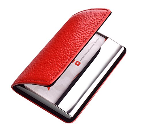 Professional Genuine Leather Business Card Holder for Women and Men, Metal Business Card Case Stainless Steel Name Card Case for Business Card, Debit Cards, Driver License Stainless Leather SCL Red (Driver Box)