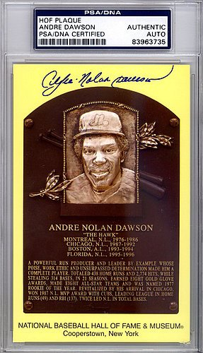 Andre Nolan Dawson Signed HOF Plaque Postcard Full Name - PSA/DNA Authenticated
