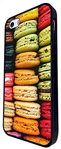 057 - Sweet Macaroons Yummy Cool Funny Design iphone SE - 2016 Coque Fashion Trend Case Coque Protection Cover plastique et métal - Noir