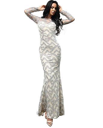 f8cf9fc24b8dc Miss ord Women Sexy High Neck Long Sleeve Glitter Maxi Party Dress X-Small