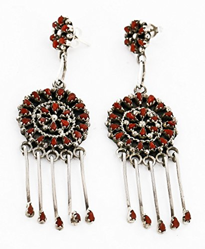$625 Retail Tag Authentic Handmade Signed Zuni Silver Dangle Native American Earrings Natural Coral (625 Silver Metal)