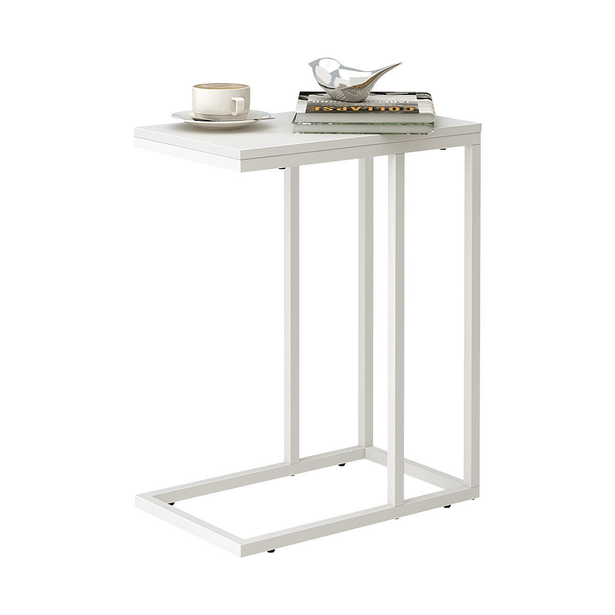 WLIVE Snack Side Table, C Shaped End Table for Sofa Couch and Bed, White by WLIVE