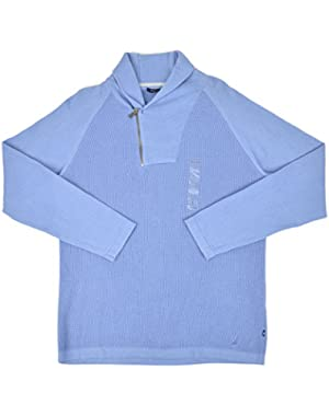 Mens Heeavyweight Knit Shawl Collar Half Zip Sweater Sky Blue Large