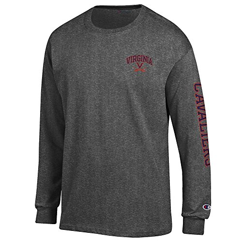 (Elite Fan Shop Virginia Cavaliers Long Sleeve Tshirt Letterman Charcoal - L)