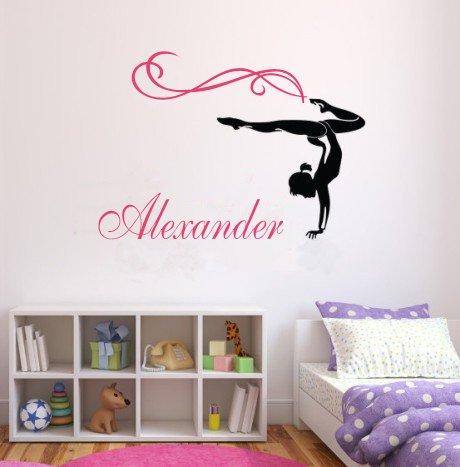 Gymnast Personalized Name Gymnastics Dance Teen Girl Nursery Wall Decal