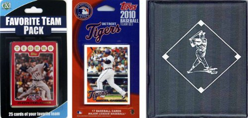 MLB Detroit Tigers Licensed 2010 Topps Team Set and Favorite Player Trading Cards Plus Storage (Detroit Tigers Album)