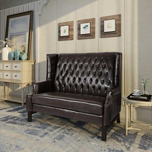 Christopher Knight Home 303833 Nolie Leather Loveseat, Dark Brown