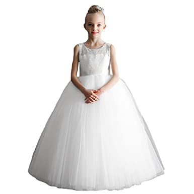 abaoWedding Lace Zipper Bow-Belt Flower Girl Dresses Ball Gown UK 2 White