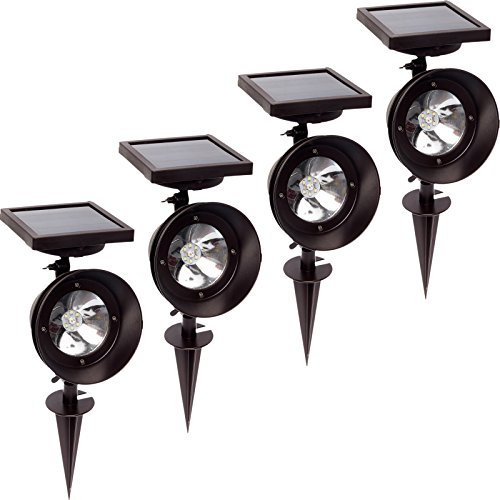 4 Pack GreenLighting Super Bright Triple Function Solar Spotlight (Bronze) by GreenLighting