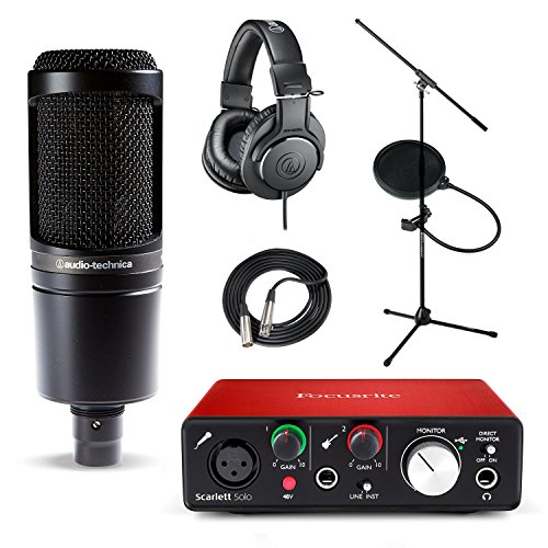 Focusrite Scarlett Solo (2nd Gen) USB Audio Interface and Recording Bundle with Pro Tools | First Audio Technica AT2020 with Mic Stand ATH-M20x Filter & XLR