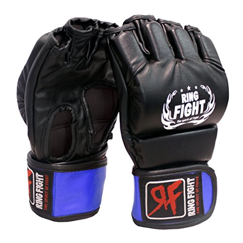 Ceela Sports Ring Fight MMA UFC Grappling Gloves  Open Finger  Black/Blue Large/X Large