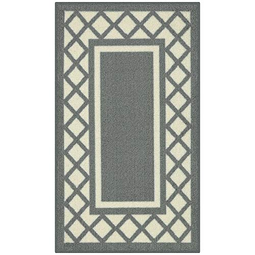 Maples Rugs Kitchen Bella 1'8 x 2'10 Non Skid Washable Throw Rugs [Made in USA] for for Entryway and Bedroom, Light Grey/Neutral