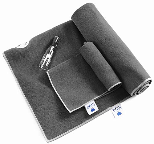 IUGA Non Slip Yoga Towel, Extra Thick Hot Yoga Towel + Hand Towel 2in1 Set, Corner Pockets Design to Prevent Bunching, 100% Microfiber - Non Slip, Super Absorbent and Quick Dry