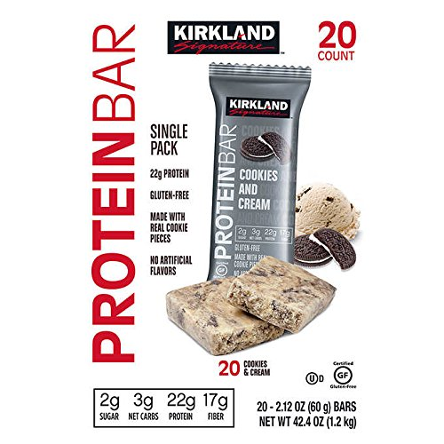 Kirkland Signature Protein Bars Cookies and Cream 2.12 oz, 20-count by Kirkland Signature