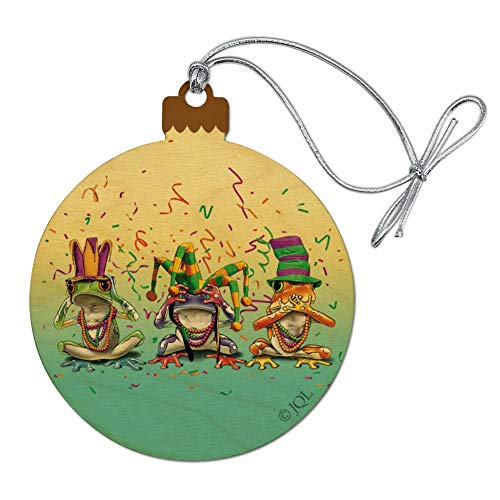 (GRAPHICS & MORE Party Frogs Mardi Gras See No Evil Hear Speak Wood Christmas Tree Holiday Ornament)