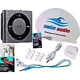 "[Top-Rated Waterproof iPod + Waterproof ""Premium Buds"" Headphones by Swim Audio] WATERPROOF iPod Shuffle With TRUE DIGITAL SOUND Short-cord Premium Buds & Attractive Swim Cap - GRAY"