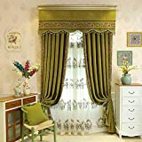 Cashmere Blackout lace Curtains American Country Solid Color European Luxury Retro Living Room Bedroom Thickening (Size : 3.5 * 2.7m)