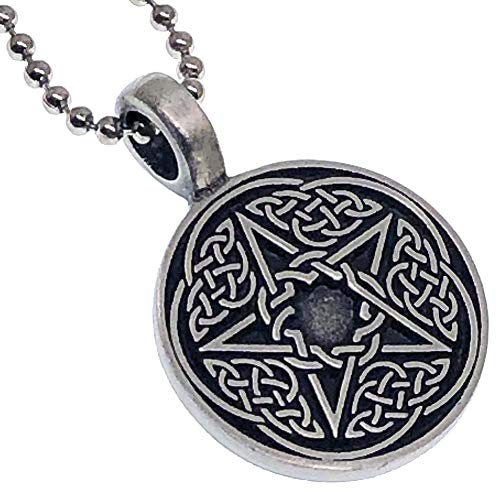 OhDeal4U Magic Wicca Wiccan Paganism Pagan Jewelry Celt Celtic Pentagram Pentacle Star Protection Amulet Unisex Men's Women's Girl's Pewter Pendant Necklace Charm for Men Women W Silver Ball Chain