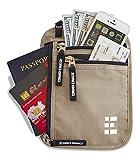 Zero Grid Neck Wallet w/RFID Blocking- Concealed Travel Pouch & Passport Holder