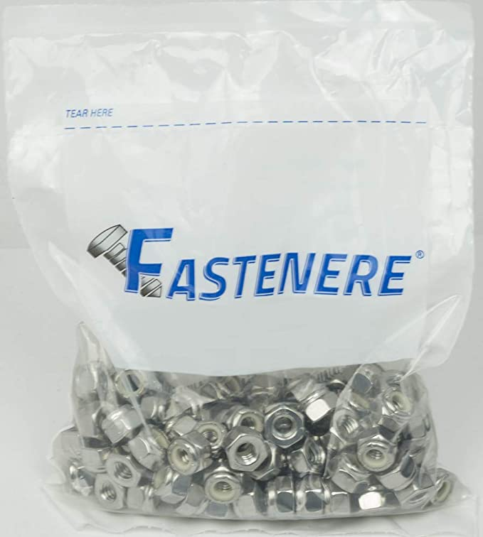 10-32 Nylon Insert Hex Lock Nuts, Stainless Steel 18-8, Plain Finish, Quantity 100 By Fastenere - - Amazon.com