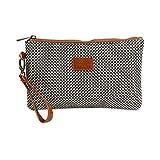 Wristlet Wallet Clutch Bag - Phone Purse Handbag - Large Size - Black & Gray Herringbone Style - Funky Monkey Fashion