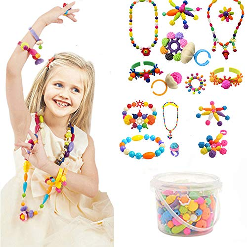 Edycur Arty Snap Pop Beads Set with Storage Bucket, Arts and Crafts Toys Gifts for Kids Age 4yr-12yr Creative DIY Jewelry Kit for Toddlers Birthday Gift Toys for 4,5,6,7,8 Year Old Girls (250 Pcs)