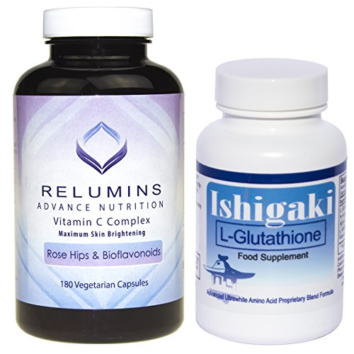 Ishigaki L-Glutathione Ultra-Whitening Formula & Relumins Vitamin C MAX Capsules Stack by Relumins