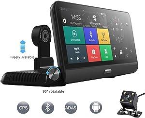"4G Car DVR Camera GPS 8"" Android 5.1 FHD 1080P WiFi Video Recorder Dash Cam Registrar Parking Monitoring Dual Lens"
