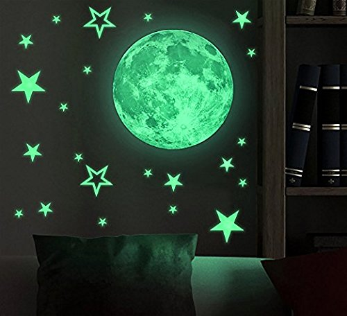 Glow in The Dark Wall Stickers Set/Pack of 27 Stars & 30 cm Moon Wall Decal Decoration. Funny Luminous Glow in The Dark Stars & Moon Wall Stickers Removable and Self Adhesive. Great Baby Shower Gift or for Kids & Children Nursery Wall Stickers