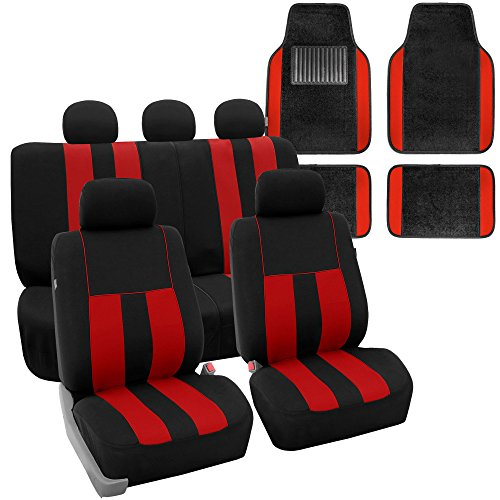 FH GROUP FH-FB036115 Combo Set: Striking Striped Seat Covers w. Premium Carpet Floor Mats, Red / Black Color- Fit Most Car, Truck, Suv, or Van