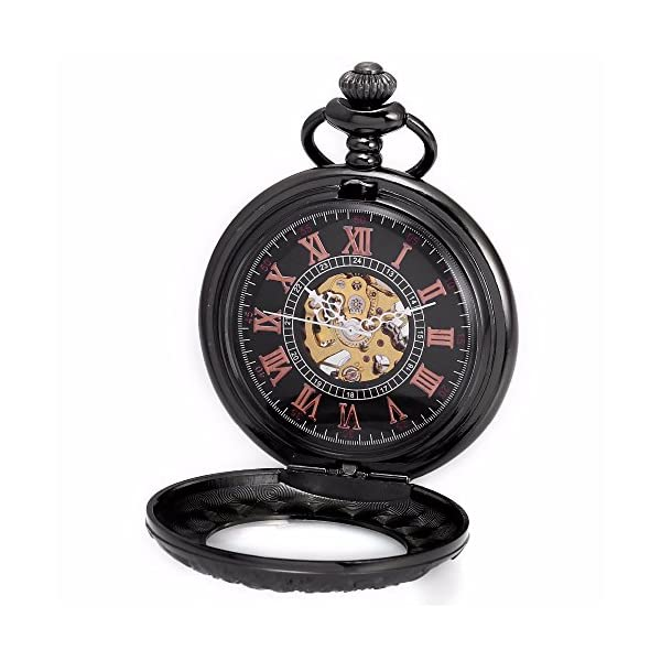 Carrie Hughes Men's Vintage Black Gothic Steampunk Skeleton Mechanical Pocket Watch with Chain Gifts 4