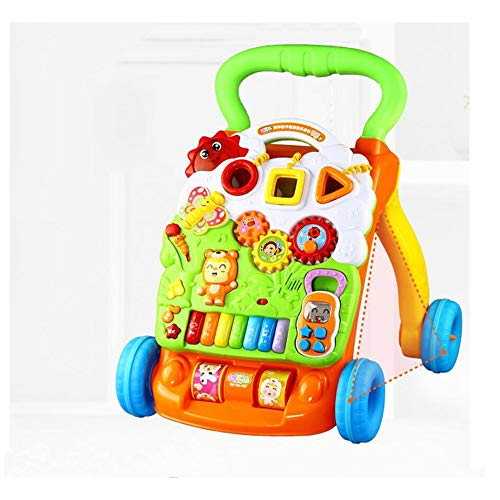 - HU Baby Walker Trolley Toy Children Multi-Purpose Walking Walking Walker Anti-Rollover Adjustable Speed
