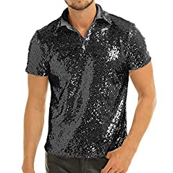 Men's Sequins Turn-Down Collar T-Shirts