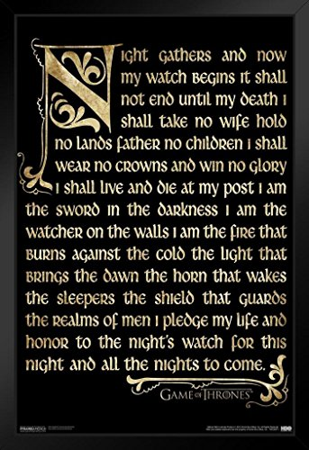 Night Game Framed - Game of Thrones Nights Watch HBO Medieval Fantasy TV Television Series Framed Poster 14x20 inch